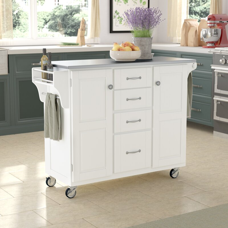 Adelle A Cart Kitchen Island With Stainless Steel Top