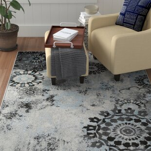 Look for Holmstrom Distressed Floral Pale Gray/Black Area Rug ByWinston Porter