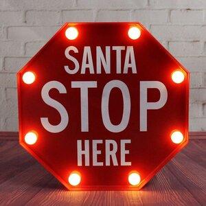 Christmas Stop Santa 8 Light Luminary