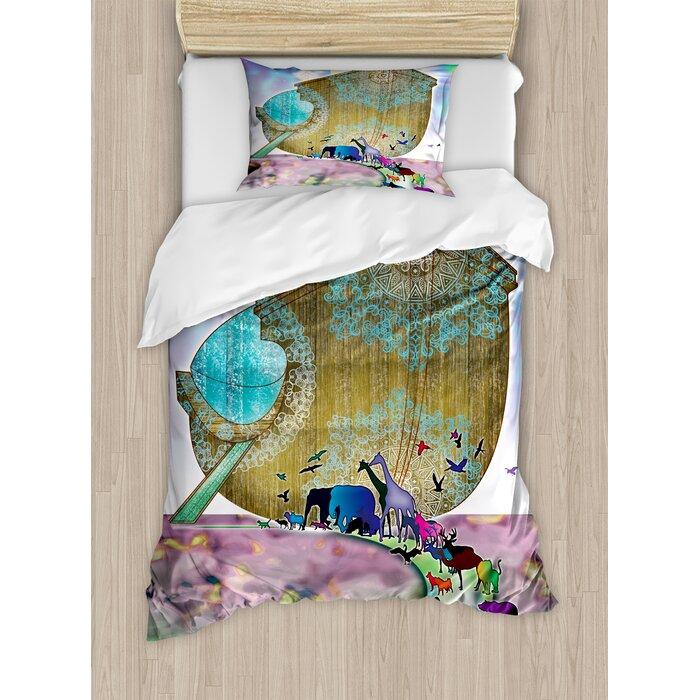 Noah's Ark Animals of the World Bible Story on Night Sea Mandala Patterns  Religious Art Duvet Cover Set