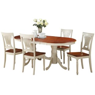 Doretha 5 Piece Solid Wood Dining Set wit..