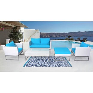 Wade Logan Kabir Garden 5 Piece Rattan Sofa Seating Group with Cushions
