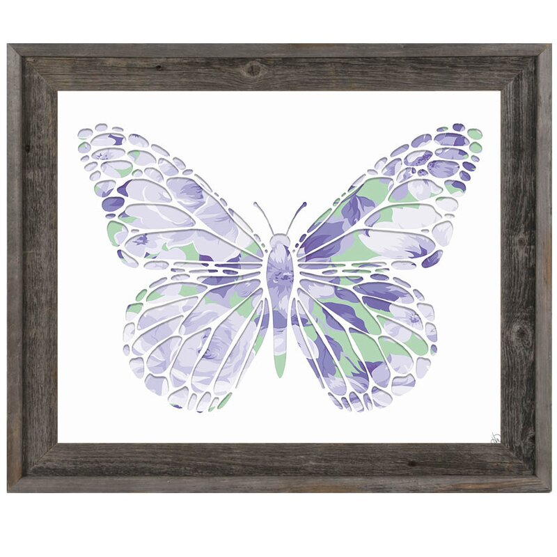 Click Wall Art \'Purple Rose Butterfly\' Framed Graphic Art & Reviews ...