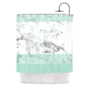 'Mint Marble Fade' Single Shower Curtain