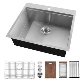 Elkay Lustertone 22 L X 22 W Drop In Kitchen Sink Wayfair