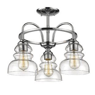 Sherlock 3-Light Semi Flush Mount by Wrought Studio