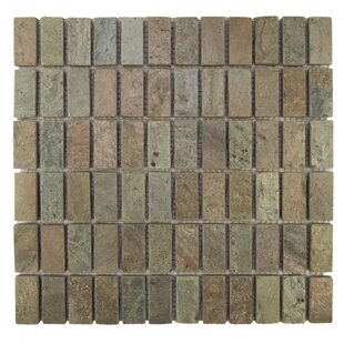 Review Rectangles 1 x 2 Natural Stone Mosaic Tile in Cooper by Pebble Tile