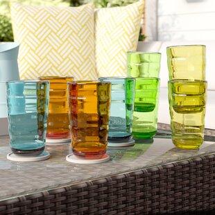 Fulmer Break-Resistant Wavy 8 Piece 25 oz. Plastic/Acrylic Every Day Glass Set