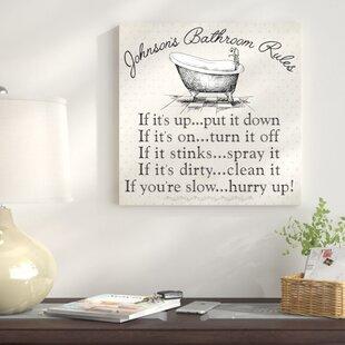 Personalized U0027Bathroom Rulesu0027 Textual Art On Canvas