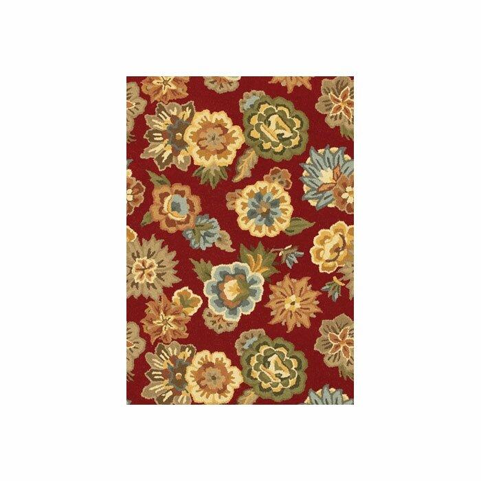August Grove Helmetta Floral Handmade Tufted Wool Red Area Rug Wayfair
