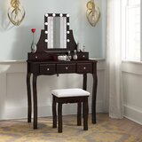 Crandell Solid Wood Vanity Set with Stool and Mirror by House of Hampton®
