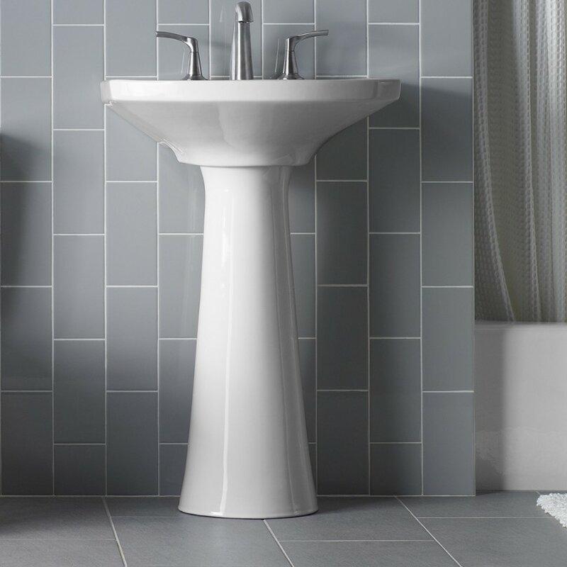 K 2362 1 0 4 95 4 0 Kohler Cimarron Ceramic 23 Pedestal Bathroom Sink With Overflow Reviews Wayfair
