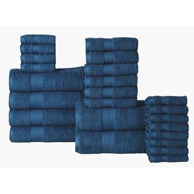 The Twillery Co. Arias 24 Piece 100% Cotton Towel Set Color: Denim