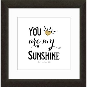 gold letter you are my sunshine framed textual art - You Are My Sunshine Frame