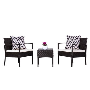 Schimpl 3 Piece Rattan Conversation Set with Cushions
