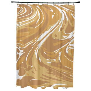Willa Marble Geometric Print Single Shower Curtain by Bungalow Rose Great Reviews