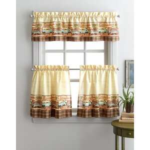 Murilda Fishing Lodge 3 Piece Kitchen Curtain Set