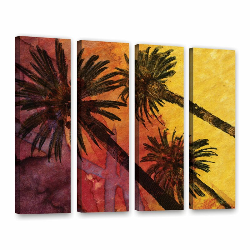 Bay Isle Home Beach With Palm Trees 4 Piece Painting Print On Wrapped Canvas Set Wayfair
