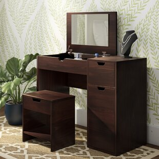 Lighted bedroom vanity sets wayfair kistner vanity set with mirror aloadofball Gallery