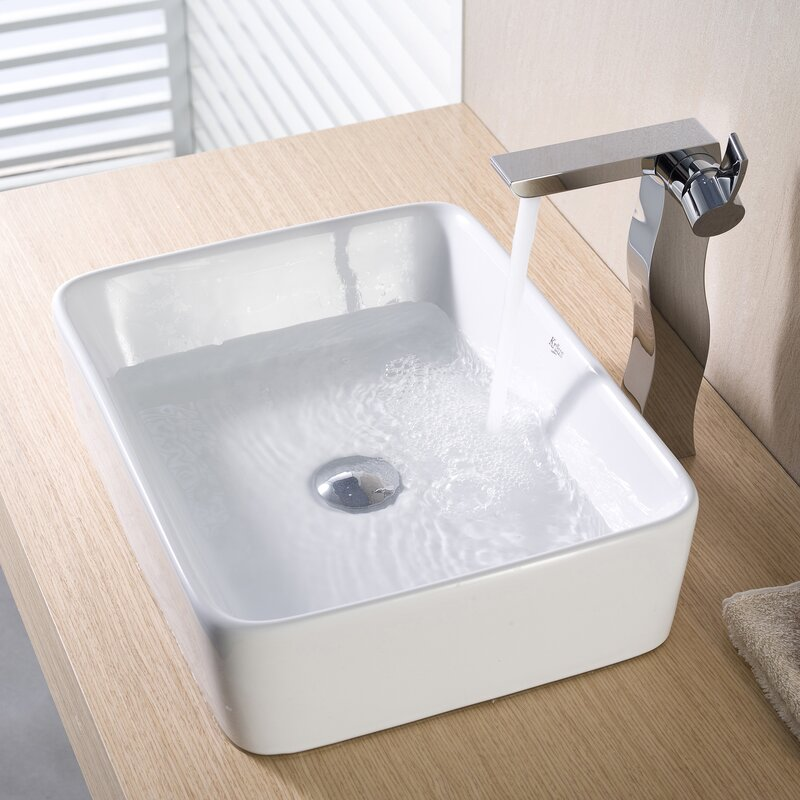 Kraus Ceramic Rectangular Vessel Bathroom Sink Reviews Wayfair - Bathroom drain