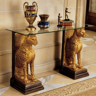 Egyptian Royal Cheetahs Sculptural Glass Topped Console Table