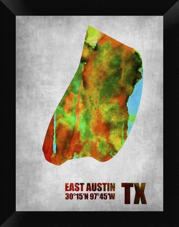 Naxart East Austin Texas Framed Graphic Art Print On Canvas Wayfair