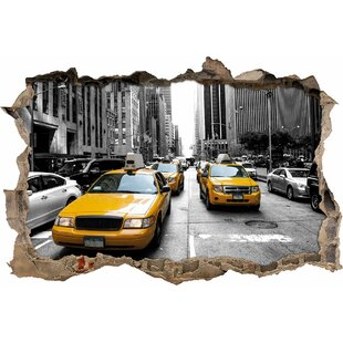 Yellow New York Taxi Wall Sticker By East Urban Home