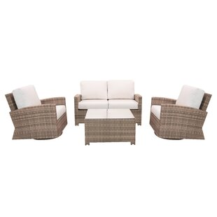 Norfolk 4 Piece Sunbrella Seating Group with Cushions by Rosecliff Heights