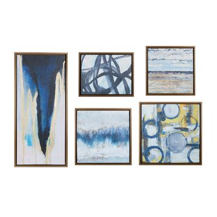 b20d6344243  Blue Bliss  5 Piece Framed Graphic Art Print Set on Wood