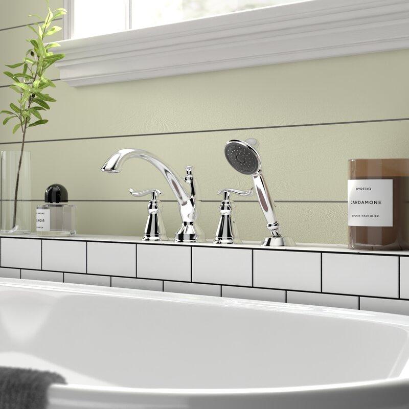 Linden Double Handle Deck Mounted Roman Tub Faucet Trim With Handshower Reviews Birch Lane