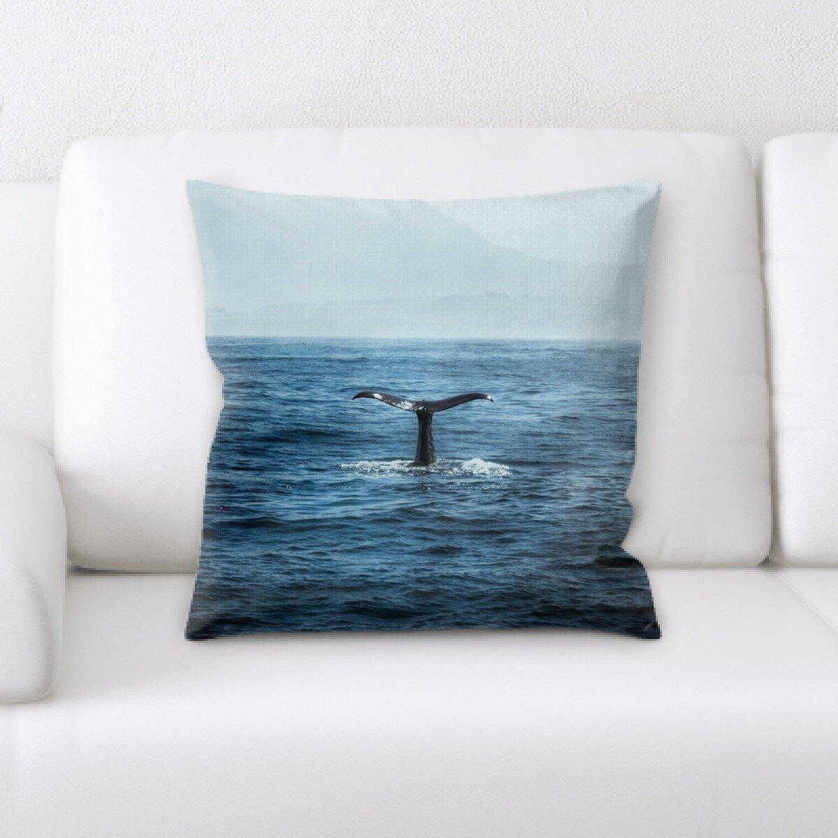 Ebern Designs Larkin Whale Throw Pillow Wayfair