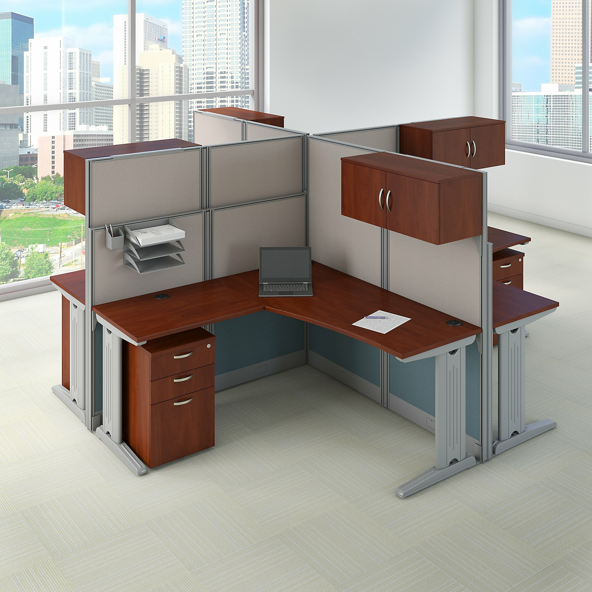 Bush Business Furniture Office In An Hour 4 Person L Shaped Desk Workstation Cubicle Wayfair Ca