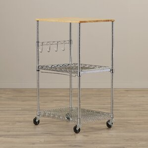 Microwave Cart with Wood Top by Rebrilliant