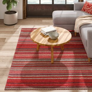 Nassar Hand-Woven Wool Red Rug by Caracella