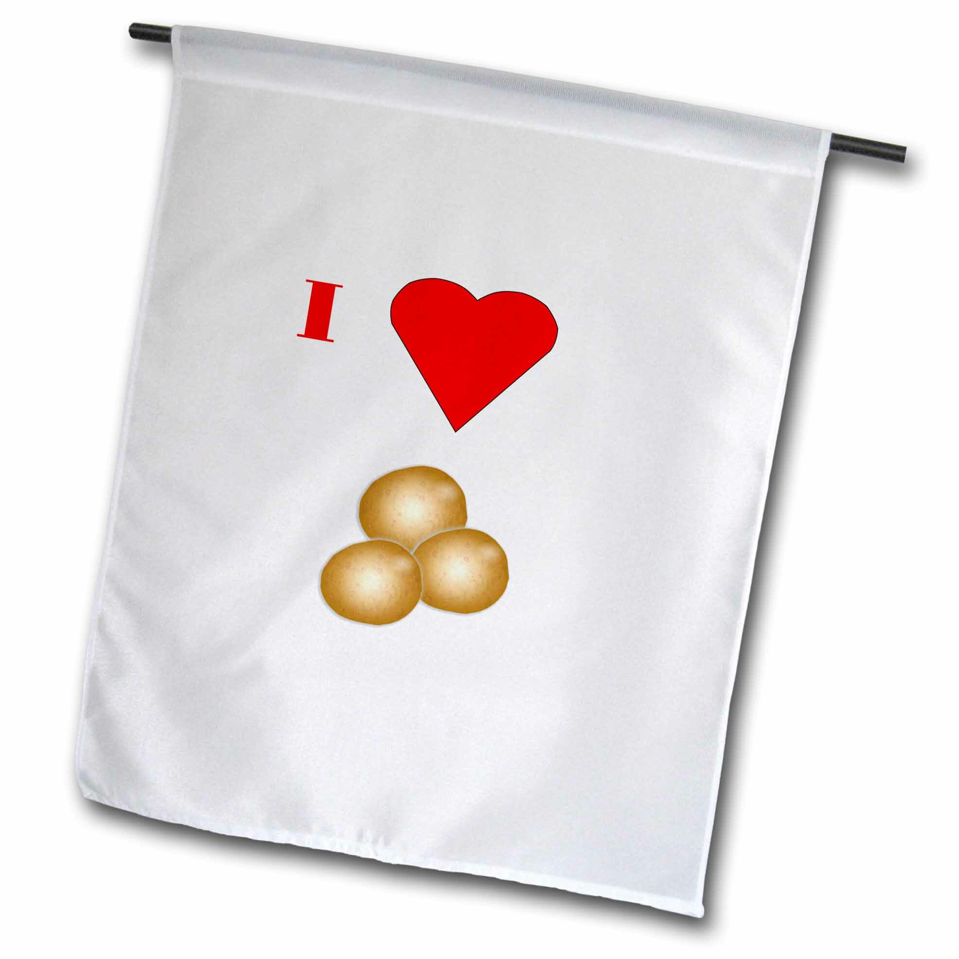 3drose Image Of Cartoon I Love Potatoes With Heart Polyester 18 X 12 In House Flag Wayfair Ca