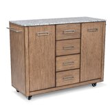 Kutsi Kitchen Cart with Granite Top by Gracie Oaks