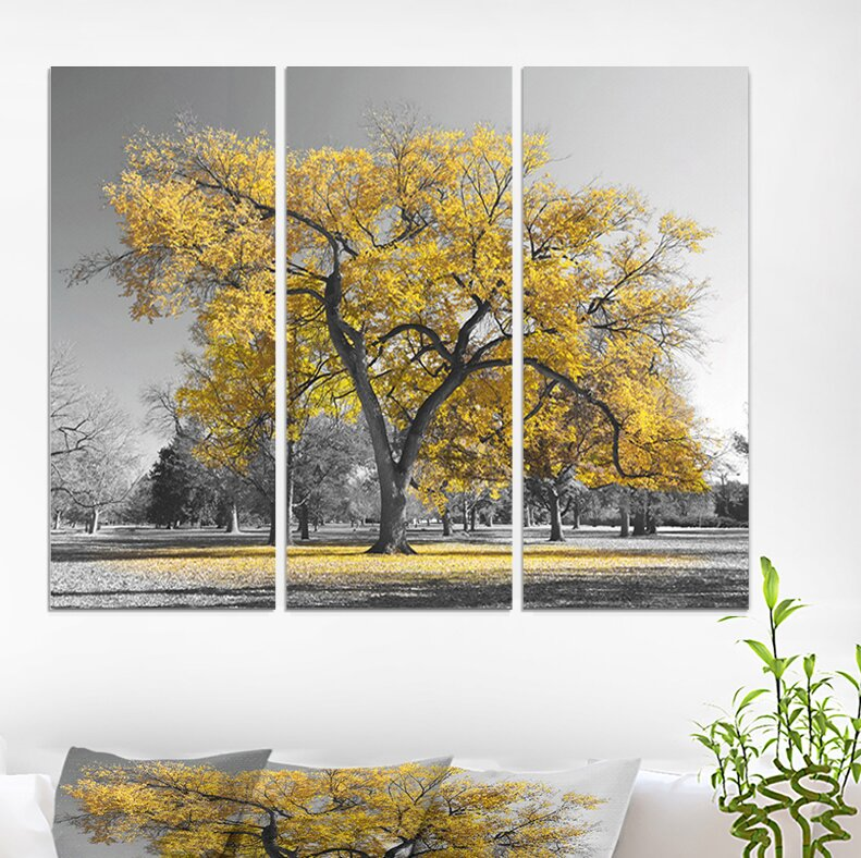 East Urban Home Big Golden Tree Photographic Print Multi Piece Image On Wrapped Canvas Wayfair