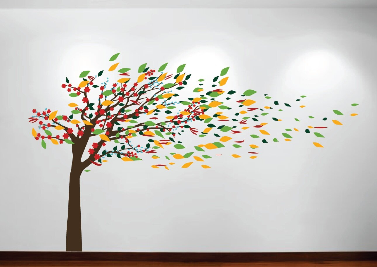 Innovative Stencils Wind Blowing Tree Cherry Blossom Nursery Wall Decal Reviews Wayfair