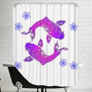 floral koi fish shower curtain