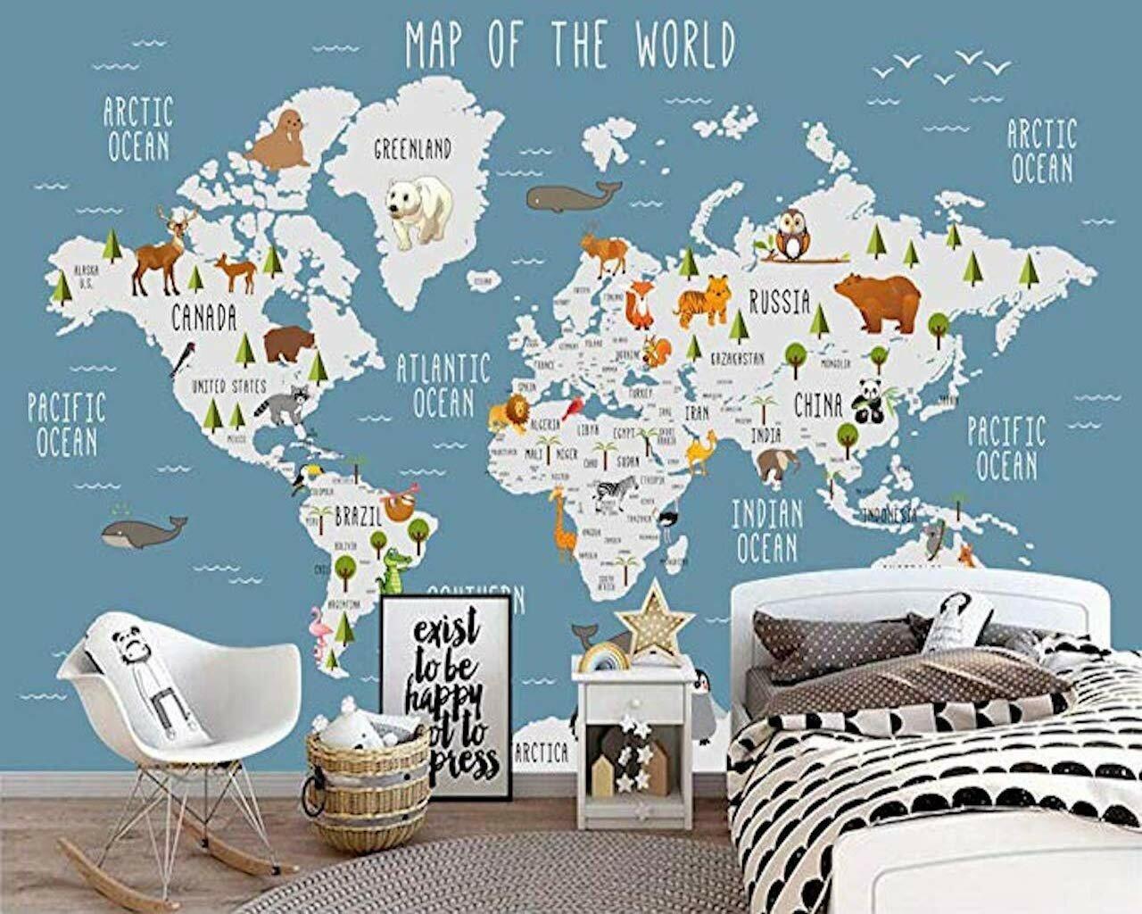 Gk Wall Design Blue World Map Wall Mural Cartoon Animal Textile Wallpaper Reviews Wayfair
