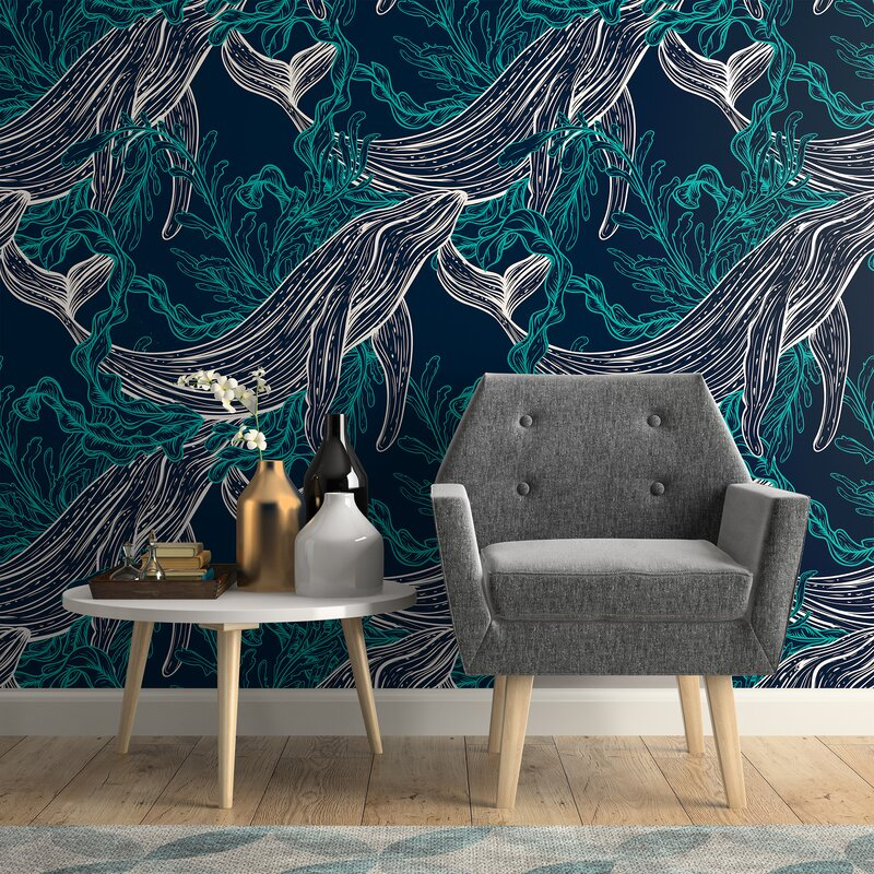 Kyson+Fish+Nautical+Removable+Peel+and+Stick+Wallpaper+Panel