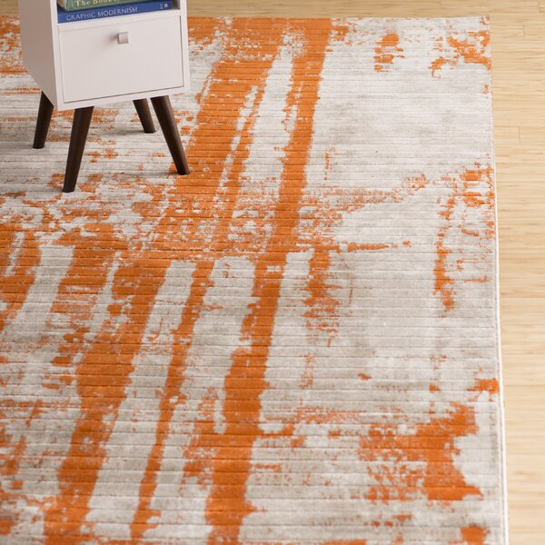 Wrought Studio Dahl Light Grey/Burnt Orange Area Rug U0026 Reviews | Wayfair.ca