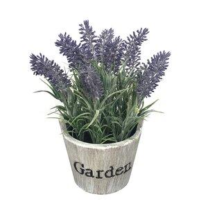 Lavender Floral Arrangement in Beige Pot