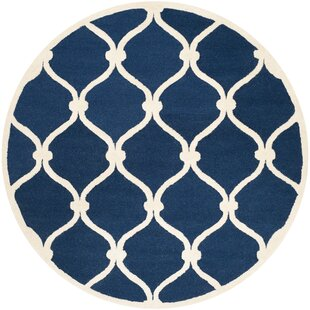 Leighton Hand-Tufted Wool Blue Area Rug by Beachcrest Home