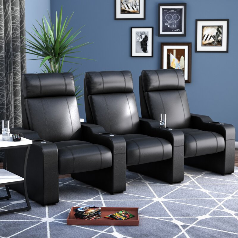 Leather Manual Rocker Recline Home Theater Sofa (Row Of 3)