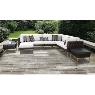 Barcelona Outdoor 9 Piece Sectional Seating Group with Cushions