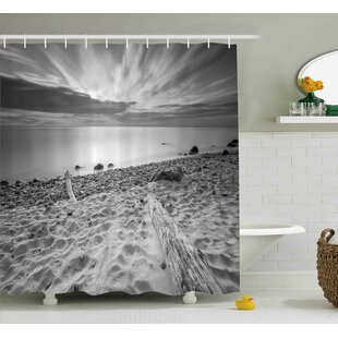 Vicki Nature Theme Landscape of The Rocky Sea Shore With Driftwood Clouds Single Shower Curtain