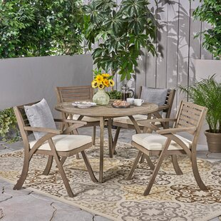 Cotswald Outdoor 5 Piece Dining Set with Cushions