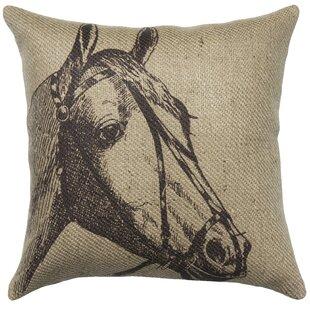 Horse Burlap Throw Pillow