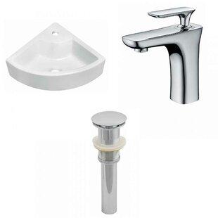 Ceramic 26 Wall-Mount Bathroom Sink with Faucet ByRoyal Purple Bath Kitchen